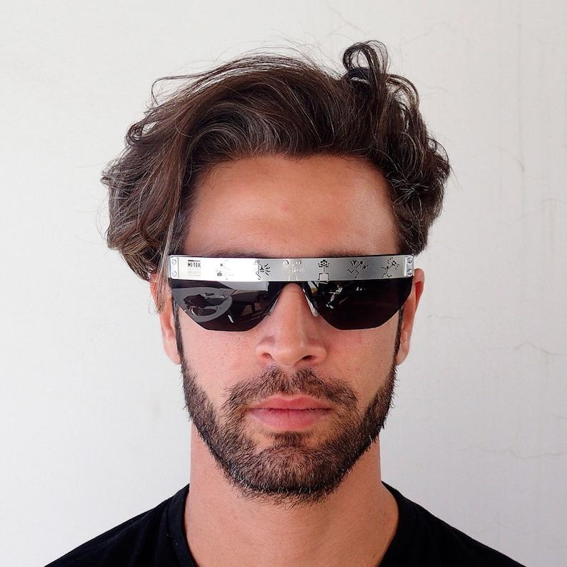 41cde7fb2d082 Square rectangular flat top sunglasses retro Goth Steampunk