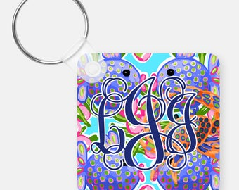 Swimmin & Kissin Fish Personalized Key Chain Custom Key Tag Personalized Key Chain Car Accessories Personalized Gift Monogrammed Gift