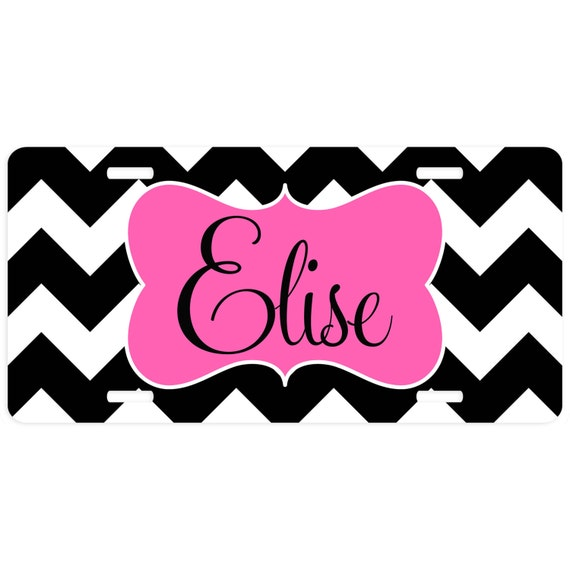 Car Tag Chevron Personalized Car Tag Chevron Personalized Monogrammed License Plate Vanity Plate Monogrammed Car Tag Decorative Car Tag