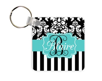 Dandy Damask Personalized Square, Round or Rectangle Key Chain