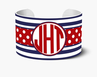 Stripes & Polka Dot Personalized Cuff Bracelet, Personalized Cuff Bracelets, Monogrammed Cuff Bracelet, Custom Personalized Create Your Own