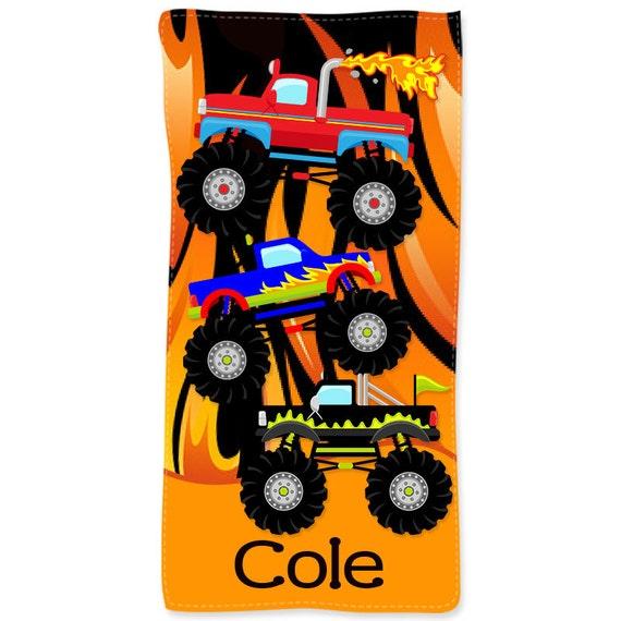 beach towel monster truck personalized kids beach towel kids etsy