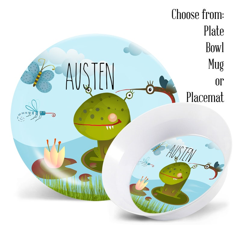 Frog Plate Set Birthday Gift Personalized Kids Plate Plate Bowl /& Mug Set Boys Personalized Placemat Custom Kids Dishes Childs Plate