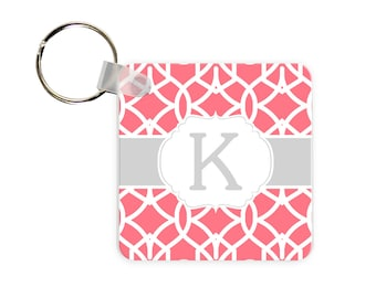 Trellis Print Personalized Square, Round or Rectangle Key Chain