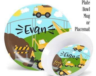 Personalized Kids Plates Construction Boys Personalized Melamine Plate Set Kids Melamine Dinner Set Plate Bowl  sc 1 st  Etsy & Kids melamine plates | Etsy