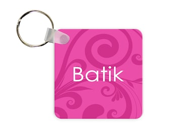 Mod Magenta Personalized Square, Round or Rectangle Key Chain