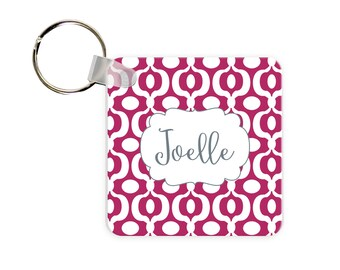 Personalized Key Tag, Monogrammed Key Chain, Personalized Key Tag, Key Tags, Urban Print Personalized Square, Round or Rectangle Key Chain