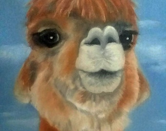 Original Alpaca Oil Painting Wall Art Wildlife Painting Portrait Whimsical Animal Art Kid's Decor Kitchen Decor Farm Animal Art Karen Snider