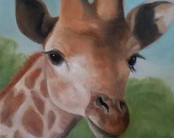 "Giraffe Oil Painting Wall Art African Wildlife Art 8"" X 10"" Stretched Canvas Giraffe Lover Animal Painting Animal Lover"