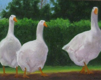 "Ducks Oil Painting Large 7 Ducks Painting Bird Art Ducks in A Row Kitchen Decor Country Decor Farm Painting 12"" X 36"" Canvas Karen Snider"