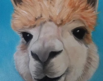 "Alpaca Oil Painting Wall Art South America Farm Animal Art Kid's Decor Kitchen Decor 8"" X 10"" Stretched Canvas Whimsical Alpaca Art"