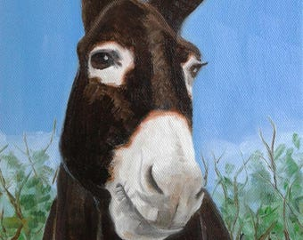 "Mule Oil Painting Mule Wall Art equine Painting Farm Animal Art Mule Portrait Animal Lover Art 8"" X 10"" Mule Canvas Wall Decor Karen Snider"