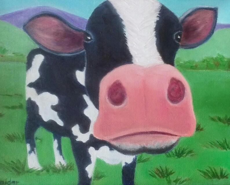 Cow Painting Holstein Painting Cow Art Farm Art Cow Wall Decor Cow Lover  Cow Portrait Cow Artwork Dairy Art Kid's Decor Karen Snider