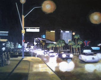 "City Lights Oil Painting 24"" X 36"" Stretched Canvas Traffic Cars Night Life Vegas Street Scene City Landscape City Street Karen Snider"