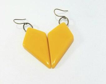 Vintage retro mustard earrings