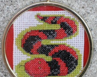 Happy Red and Black Snake Cross Stitch Ornament