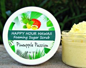 PINEAPPLE PASSIONFRUIT Sugar Scrub, Mini Favor, Foaming Whipped Soap, Hawaiian Favor, Luau Favor, Bridesmaid Gift. 1.8 oz (51 g).