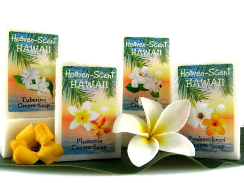 FOUR HAWAIIAN SOAPS: Your choice of Plumeria Tuberose image 0