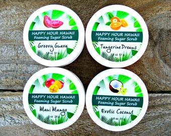 4 MINI SUGAR SCRUBS: Mango, Coconut, Guava, Pineapple-Passionfruit. Foaming Whipped Soap. Hawaiian Favors. 1.8 oz (51 g).