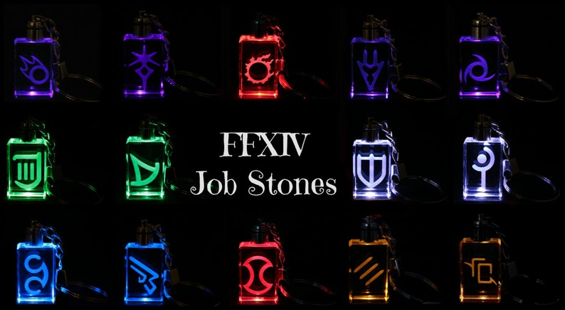 Clearance! FFXIV Job Icon Keychains - Real Crystal - LED Light -Great Gift  for the Final Fantasy XIV Fan - price reduced to half off!