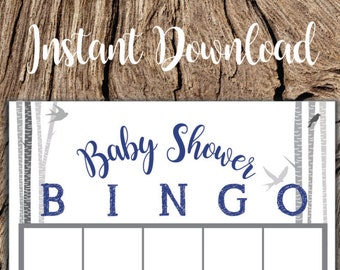 Printable Baby Shower Bingo Card For Woodland Rustic Winter Navy Grey