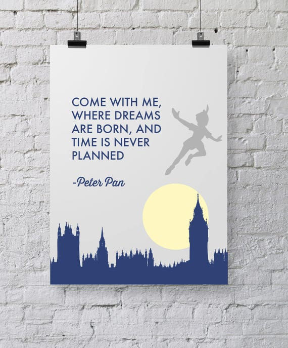 Peter Pan Quote Neverland Navy Blue Grey Yellow Printable Etsy
