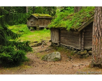 Fine Art Color Nature Photography of Two Cabins in the Woods of Finland