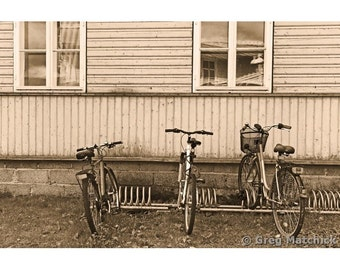 Fine Art Sepia Photography of a Vintage Scene of Three Bicycles in Estonia