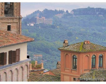 "Fine Art Color Travel Photography of Hill Town in Umbria Italy - ""View Over Perugia"""