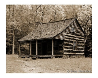 Fine Art Sepia Photography of Rural Americana - Rustic Old Log Cabin in Appalachia in the Smoky Mountains