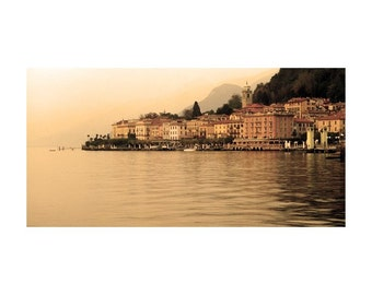 "Fine Art Sepia Photography of Lake Como Landscape - ""View of Bellagio"" (Italy)"