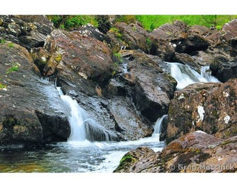 Fine Art Color Landscape Photography of Waterfall in Macgillycuddys Reeks Kilarney Park County Kerry Ireland