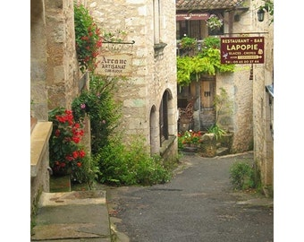 "Fine Art Color Travel Photography of French Village in Southern France - ""Quiet Lane in St Cirq Lapopie"""
