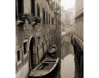 "Fine Art Sepia Photography of Venice Canal and Boats - ""Morning Mist On a Narrow Canal"" Vintage Style Print"