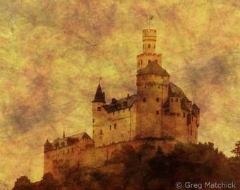Fine Art Sepia Landscape Photography of Markburg Castle in the Rhine Valley - Composite Print