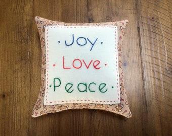 Joy Love Peace Christmas Pillow