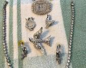Rhinestone Lot 9 Pieces of Rhinestone Jewelry Coro Dove Harp Chicken Rhinestone Necklace Pierced Earring To Upcycle Bridal Jewelry 9 Pc Lot