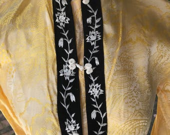 Vintage Pajamas Asian-Oriental Pajamas Yellow and Black Asian Pajamas  Embossed Yellow Fabric Stamped Asian Scenes Buttercup Yellow and Black 105609ea6