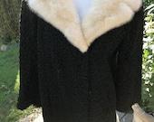 Schiaparelli Fur Coat with Mink Fur Collar Black Short Persian Lamb Coat Ivory Mink Collar and Hem Classic Style Evening Wear Schiaparelli