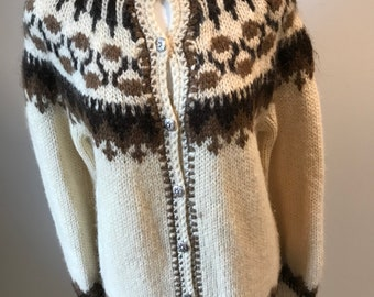 Icelandic Sweater 100% Icelandic Wool Off White and Brown Silver Buttons  Down Front Alpine Cardigan Button Up Cardigan Hilda LTD Apres Ski c06d92664
