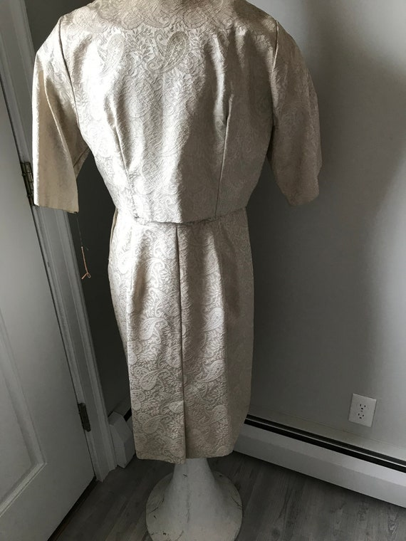 60's Cocktail Dress NWT Set Beige Brocade Outfit … - image 5