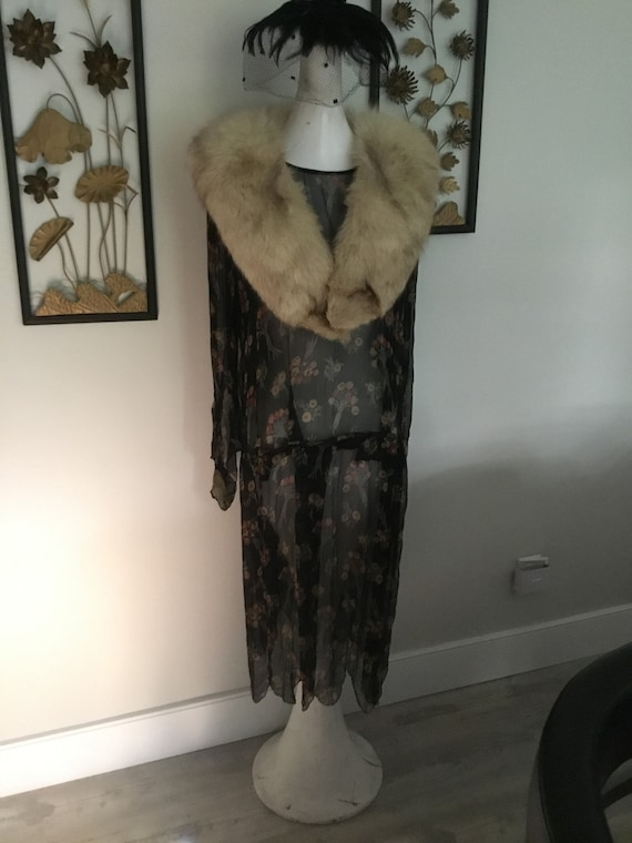 Vintage Fur Collar Luxurious Fur Piece Brown Speckles on Off White Hollywood Glam Starlet Style