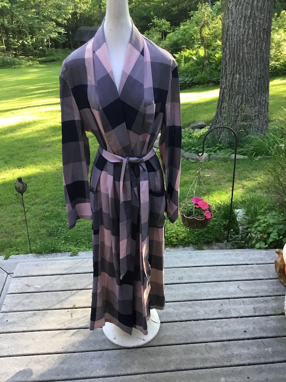 Vintage Plaid Robe 40's-50's Bathrobe Photo Prop G