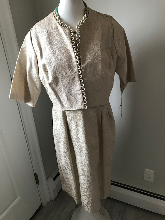 60's Cocktail Dress NWT Set Beige Brocade Outfit … - image 4