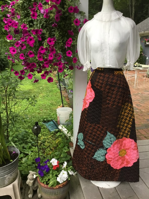 70's Maxi Skirt Quilted Floral Maxi Skirt Bold Col