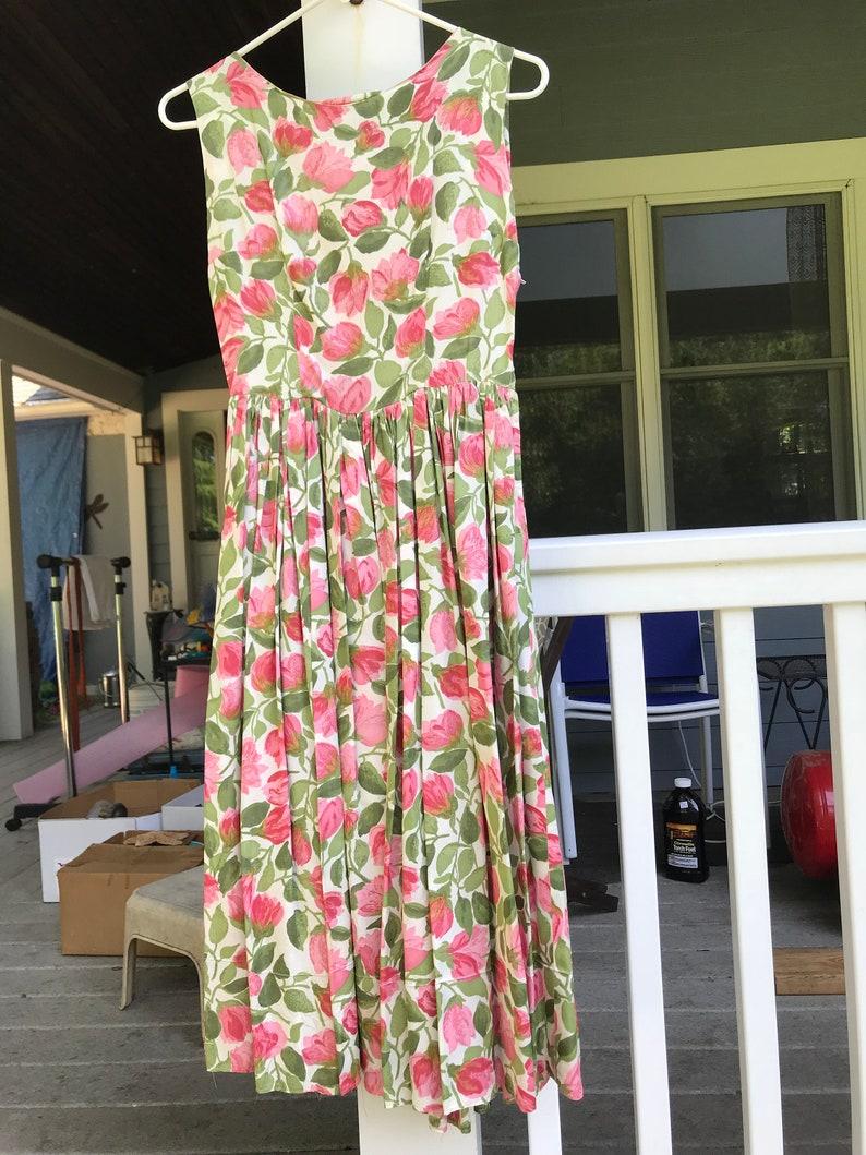 7cd8b44cb 1950's Dress Big Skirt Tulip Dress Pink Tulips All Over With Matching  Jacket Whistles like Taffeta 50's Party Dress Swishy Skirt