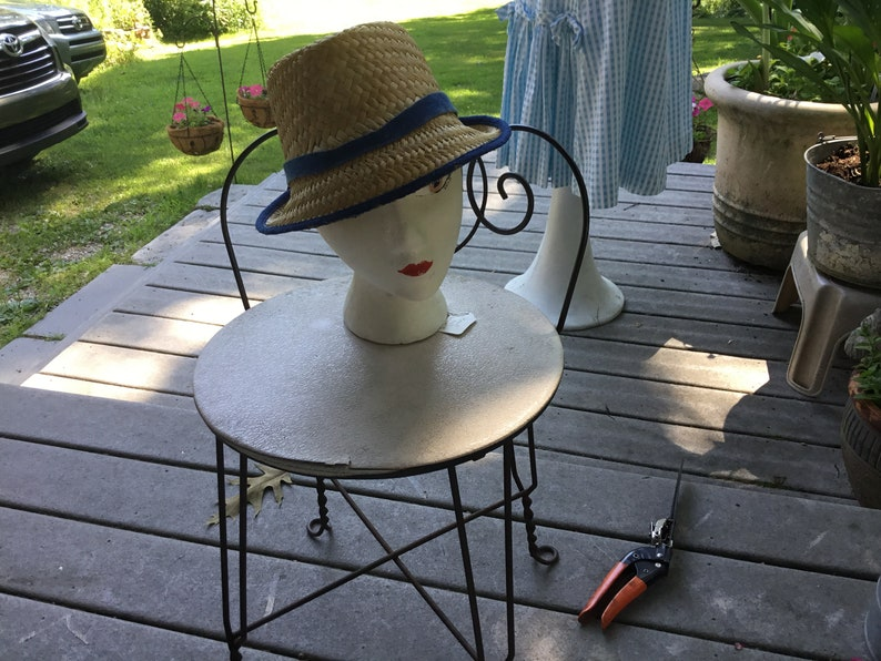cc41b0047 Straw Hat Quirky Straw Hat Tall Fedora Hat Midcentury Hipster Look FUN  Summer Hat Vintage Beach Hat Panama Hat