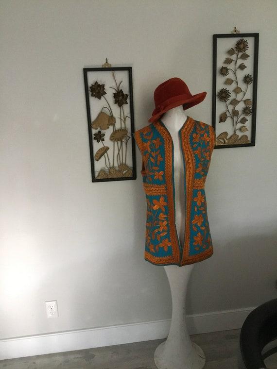 Hippie VEST Embroidered Long Vest Aqua and Golden