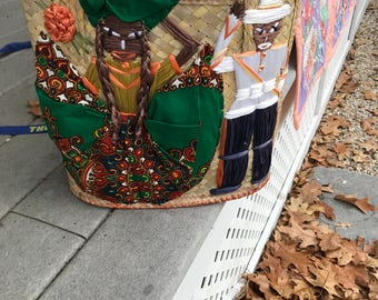 Straw Purse Raffia and Fabric Detailing Carribean Lady and Policeman in Raffia Colorful Quirky Vintage Hip Happening Purse Funky Purse