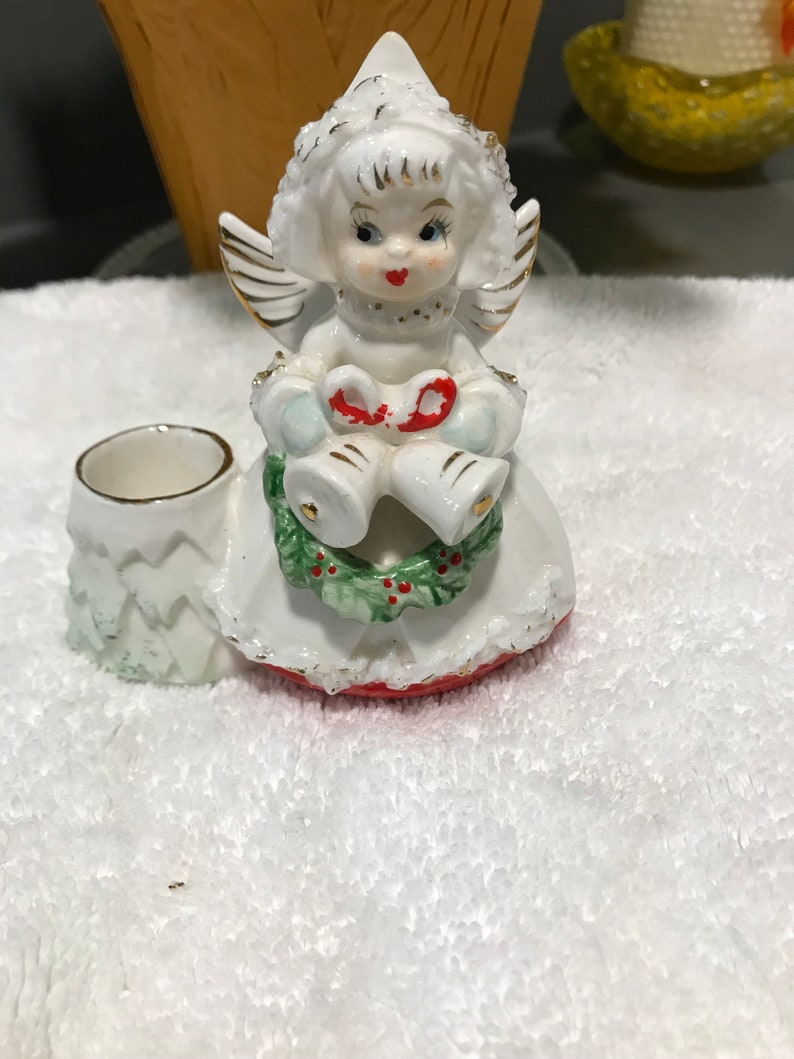 Vintage Christmas Angel Japan Ceramic Angel and Candlestick Holder Christmas Figurine Sweet Angel with Wreath